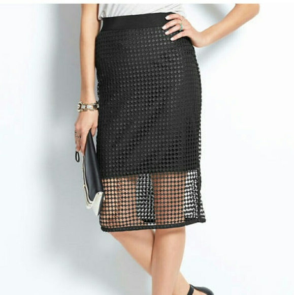 a6c424bd9a Ann Taylor Skirts   Black Mesh Pencil Skirt   Poshmark